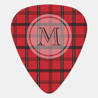 Monogrammed Red and Black Tartan Plaid Plectrum