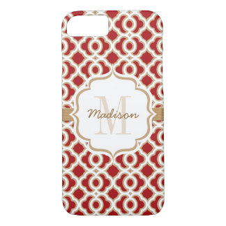Monogrammed Red and Gold Quatrefoil iPhone 8/7 Case