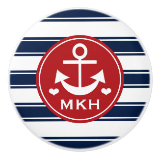 Monogrammed Red and Navy Anchor Ceramic Knob