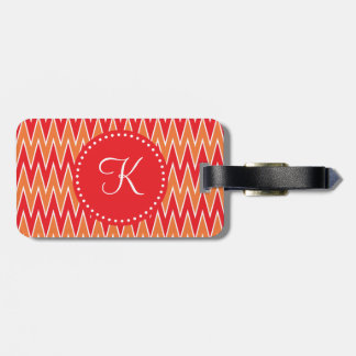 Monogrammed Red and Orange Chevorn Pattern Luggage Tag