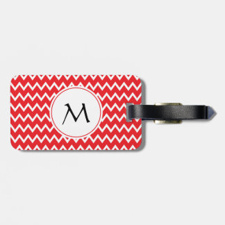 Monogrammed Red and White Chevron Pattern Luggage Tag
