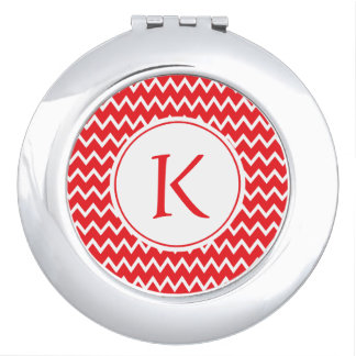 Monogrammed Red and White Chevron Pattern Mirrors For Makeup