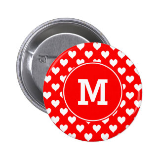 Monogrammed Red and White Heart Pattern 6 Cm Round Badge