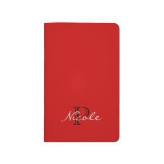 Monogrammed ~ Red Black and White Journal
