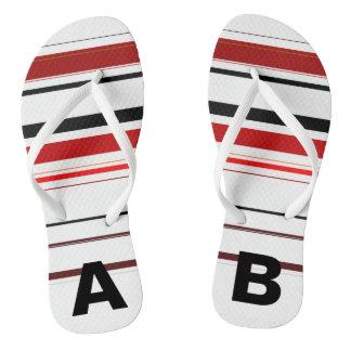 Monogrammed Red Black Beige Brown Stripes Thongs