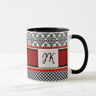 Monogrammed Red, Black Fancy Regal Coffee Mug