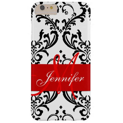 Monogrammed Red Black White Swirls Damask Barely There iPhone 6 Plus Case