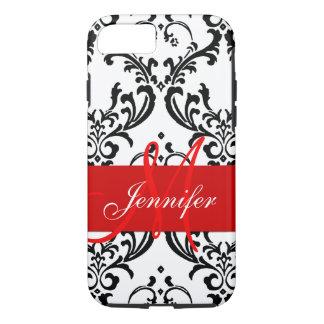 Monogrammed Red Black White Swirls Damask iPhone 7 Case