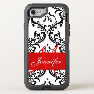 Monogrammed Red Black White Swirls Damask OtterBox Defender iPhone 7 Case