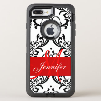 Monogrammed Red Black White Swirls Damask OtterBox Defender iPhone 8 Plus/7 Plus Case