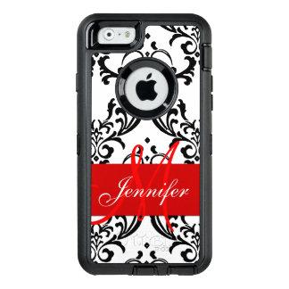 Monogrammed Red Black White Swirls Damask OtterBox iPhone 6/6s Case