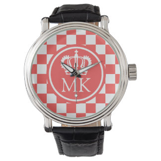 Monogrammed Red Chequered Big Boss Wristwatches