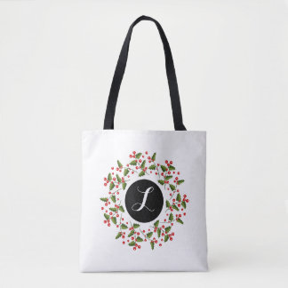 Monogrammed Red Christmas Berries Wreath Tote Bag