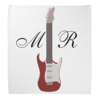 Monogrammed Red Electric Guitar Bandana