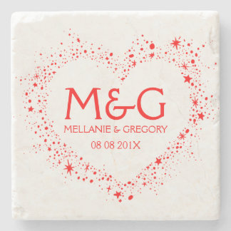 Monogrammed Red Heart Outline Illustration Stone Coaster