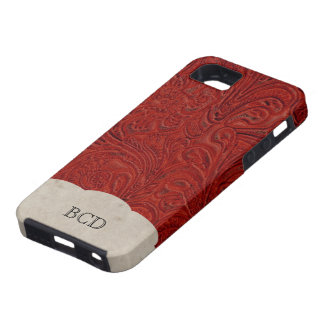 Monogrammed Red Leather Look Rustic Country Case For The iPhone 5