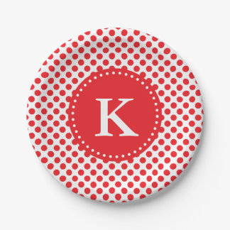 Monogrammed Red on White Polka Dot 7 Inch Paper Plate