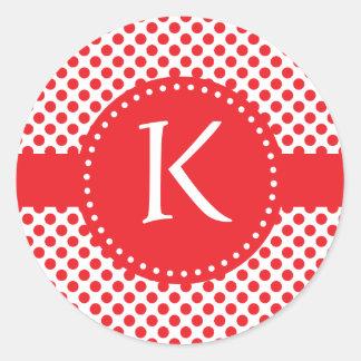 Monogrammed Red on White Polka Dot Round Sticker