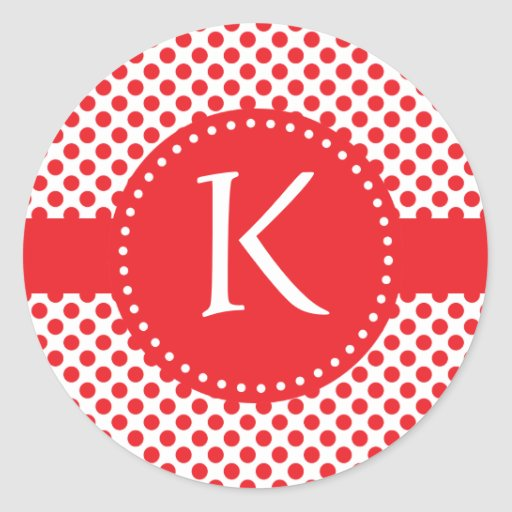 Monogrammed Red on White Polka Dot Round Stickers
