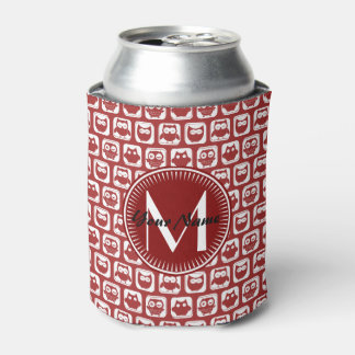 Monogrammed Red Owls, Personalized Name Can Cooler
