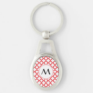 Monogrammed Red Quatrefoil Pattern Silver-Colored Oval Key Ring