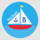 Monogrammed Red Sailboat Marine Nautical Blue Sea Classic Round Sticker