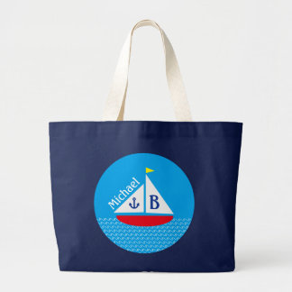 Monogrammed Red Sailboat Marine Nautical Blue Sea Large Tote Bag