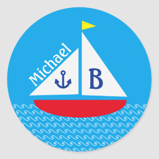 Monogrammed Red Sailboat Marine Nautical Blue Sea Round Sticker