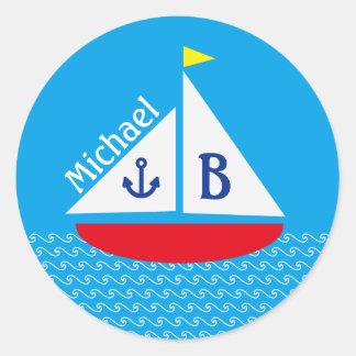 Monogrammed Red Sailboat Marine Nautical Blue Sea Round Sticker