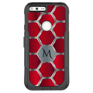 Monogrammed Red & Silver Geometric Pattern OtterBox Commuter Google Pixel XL Case