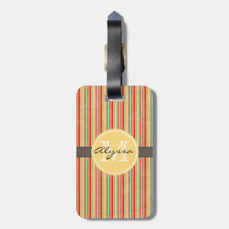 Monogrammed Red Stripe Luggage Tag