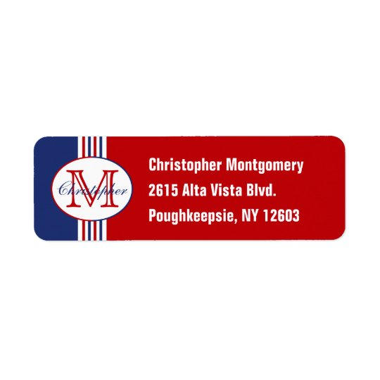 Monogrammed Red White and Blue Striped Return Address Label