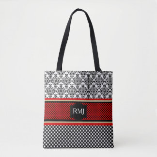MONOGRAMMED-RED-White-Black-Sophisticated-Handbag Tote Bag