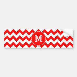 Monogrammed Red Zigzag Pattern Bumper Sticker