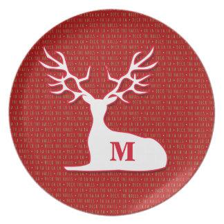 Monogrammed Reindeer | Deck the Halls| Red Plate