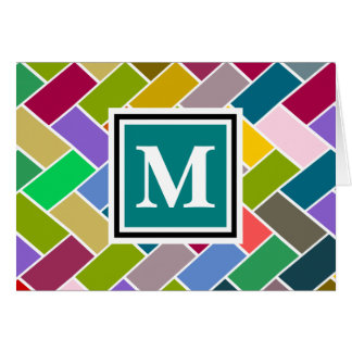 Monogrammed Repeating Brick Pattern Greeting Cards