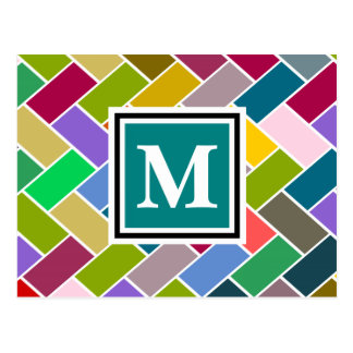 Monogrammed Repeating Brick Pattern Postcard