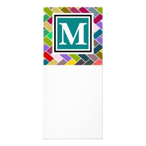 Monogrammed Repeating Brick Pattern Custom Rack Cards