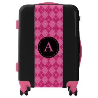 Monogrammed Retro Pink Argyle Luggage
