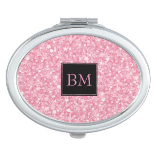 Monogrammed Retro Pink Glitter & Sparkles Mirror For Makeup