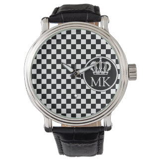 Monogrammed RF Royal Black Chequered Watch