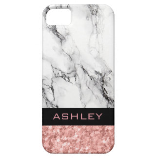 Monogrammed Rose Gold Glitter And White Marble Barely There iPhone 5 Case
