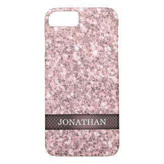 Monogrammed Rose Gold Glitter White Sparks iPhone 7 Case