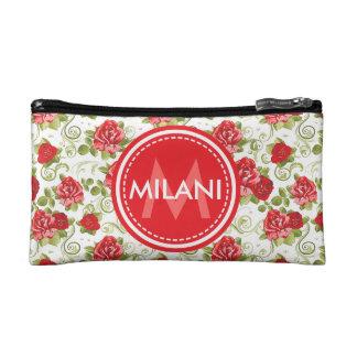 Monogrammed Rose Pattern Cosmetic Bag