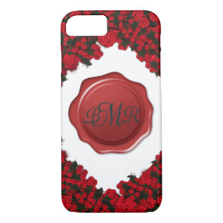 Monogrammed Rose Wreath with Wax Seal iPhone 7 Case