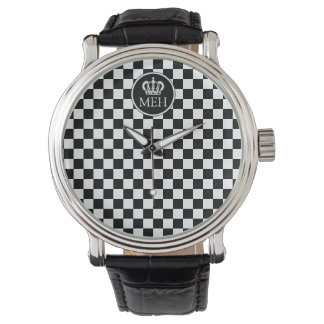 Monogrammed Royal Black Checkered Watch
