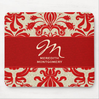 Monogrammed Ruby Red Damask Swirls Mouse Pad