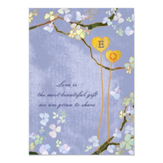 Monogrammed Rustic Blue Country Wedding Card