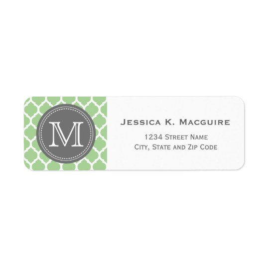 Monogrammed Sage Green & Grey Return Address Label