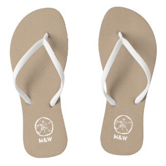 Monogrammed sand dollar beach wedding flip flops